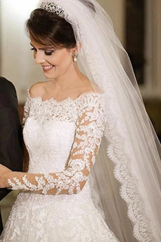 A Line Lace Wedding Dress Bridal Gown with Long Sleeves LSY085 - LaRovias