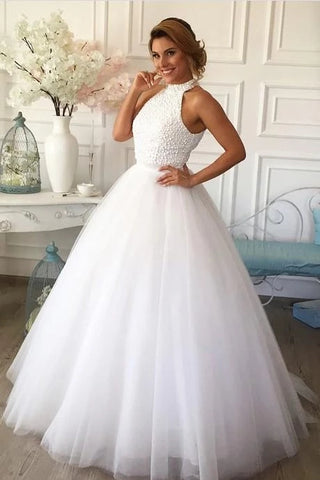 A Line Halter Tulle Wedding Dress Beaded Bodice LSY086 - LaRovias