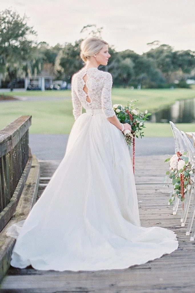 A Line Lace Wedding Dress Bridal Gown with Long Sleeves LSY087 - LaRovias