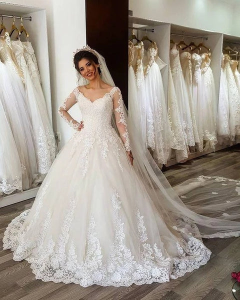 A Line Lace Wedding Dress Bridal Gown with Long Sleeves LSY089 - LaRovias