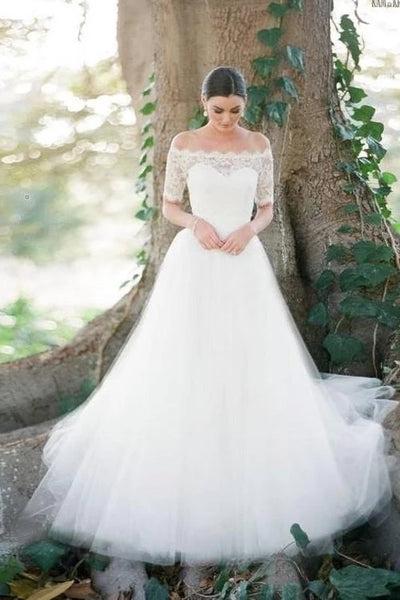 A Line Lace and Tulle Wedding Dress Bridal Gown with Short Sleeves LSY090 - LaRovias