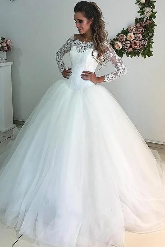 A Line Lace Wedding Dress Dropped Waistline With Long Sleeves Lsy091