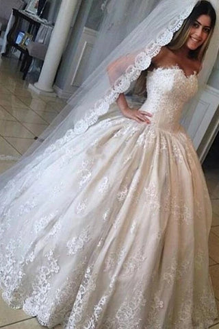 Strapless A Line Lace and Tulle Wedding Dress Bridal Gown LSY093 - LaRovias