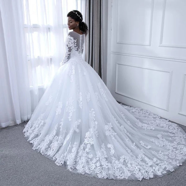 A Line Lace Wedding Dress Bridal Gown with Long Sleeves LSY095 - LaRovias