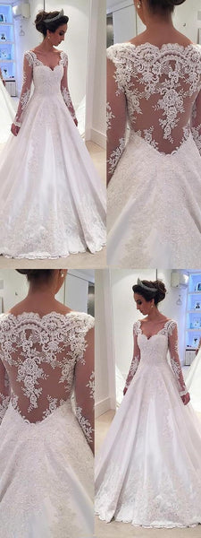 A Line Lace Wedding Dress with Long Sleeves LSY097 - LaRovias