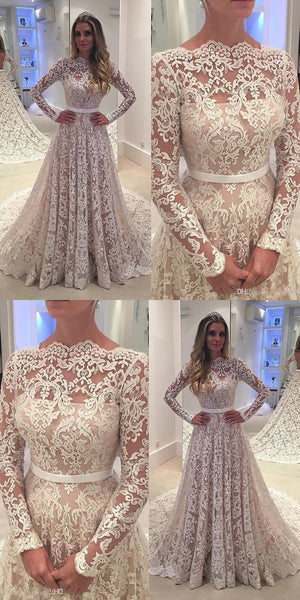 A Line Lace Wedding Dress with Long Sleeves LSY101 - LaRovias