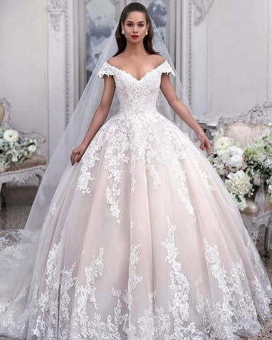 A Line Wedding Dress Bridal Gown with Long Sleeves LSY102 - LaRovias