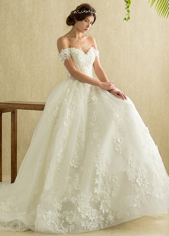 A Line Off the Shoulder Lace Wedding Dress Bridal Gown LSY103 - LaRovias