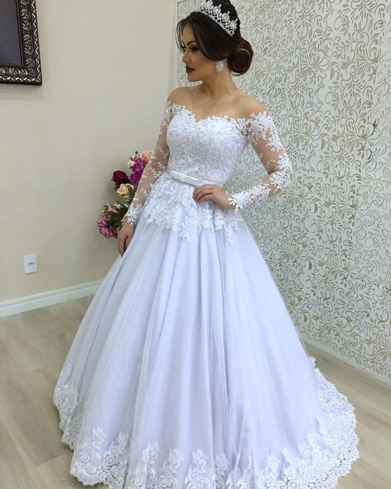 A Line Lace Wedding Dress with Long Sleeves LSY104 - LaRovias