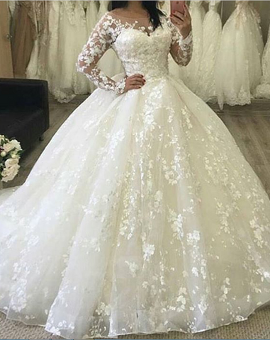 A Line Lace Wedding Dress Bridal Gown with Long Sleeves LSY105 - LaRovias