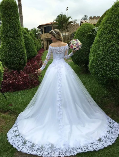 A Line Lace Wedding Dress with Long Sleeves LSY109 - LaRovias