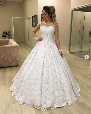 A Line Lace Wedding Dress with Long Sleeves LSY111 - LaRovias