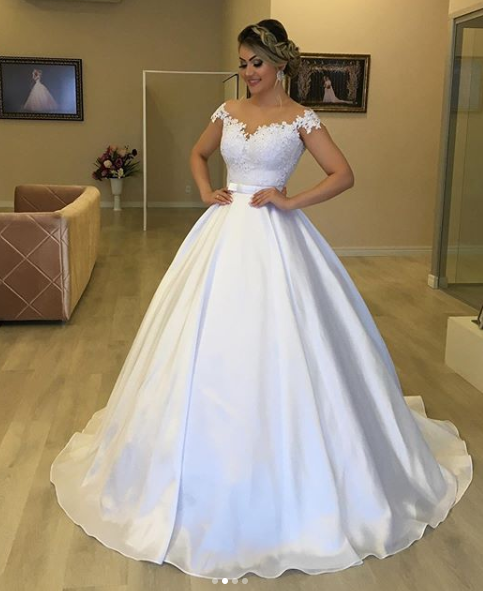 A Line Satin and Lace Off the Shoulder Wedding Dress Bridal Gown LSY114 - LaRovias