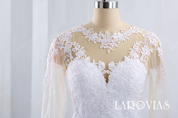 2019 New Style Mermaid Lace and Satin Wedding Dress with Long Sleeves LR016 - LaRovias