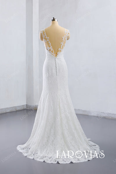 2019 Trumpet Lace Wedding Dress Bridal Gown V-Back Sweep Train LR017 - LaRovias