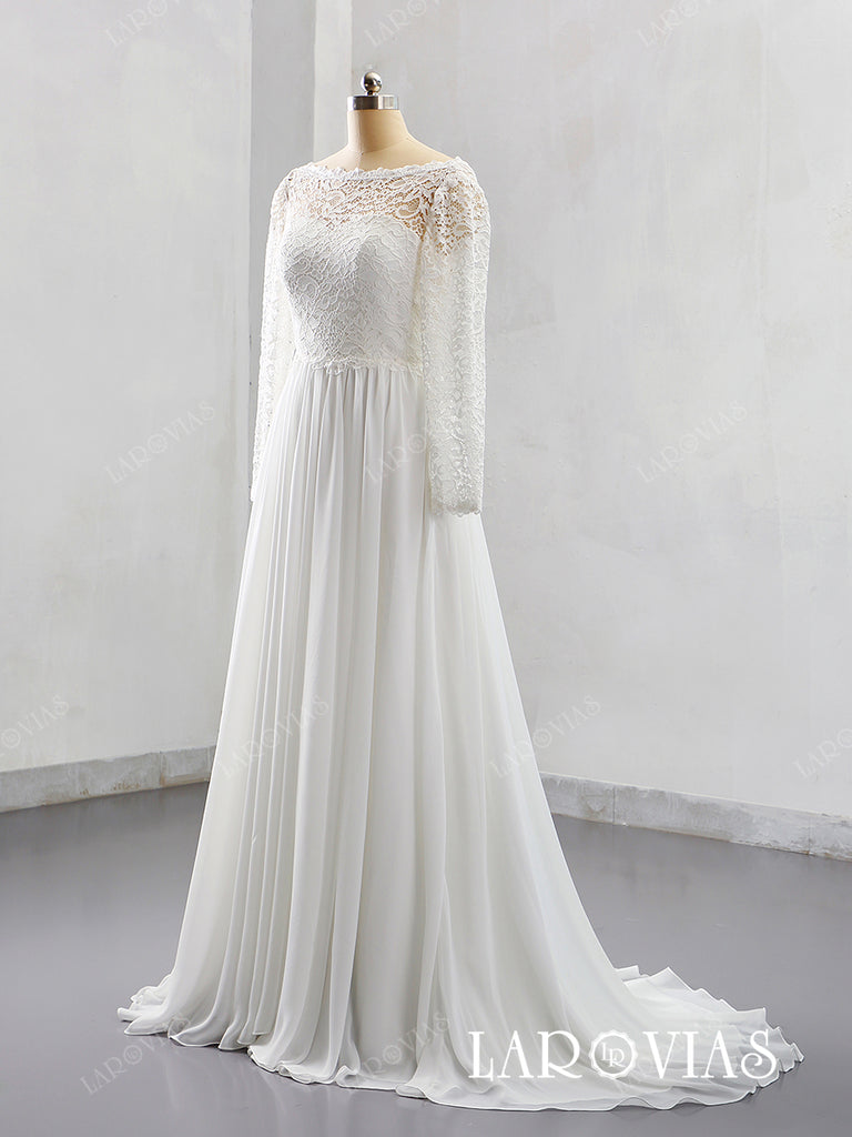 2019 Sheeth Chiffon and Lace Wedding Dress Sweep Train with Long Sleeves LR034 - LaRovias