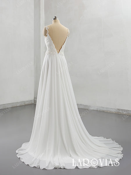 2019 New Arrival Chiffon and Lace Wedding Dress with Lace Straps LR036 - LaRovias