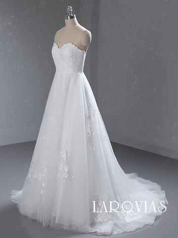 A Line Sweetheart Lace and Tulle Wedding Dress Bridal Gown LR058 - LaRovias