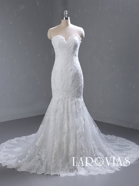 Mermaid Lace and Tulle Wedding Dress Sweetheart Neckline Chapel Train LR060 - LaRovias