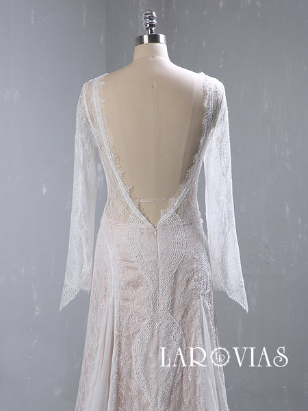 Bohemian Chiffon and Lace Wedding Dress Bridal Gown Long Sleeves LR061 - LaRovias