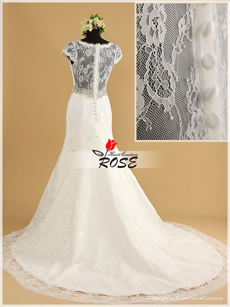 Mermaid V Cut Neckline Lace Wedding Dresses with Transparent Lace Back Style WD004 - LaRovias