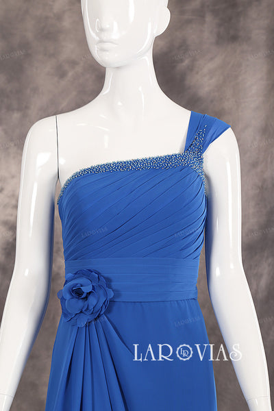 One Shoulder Beaded Neckline Ruched Bodice Chiffon Evening Dresses Floor Length Zipper Up Back Style PR508 - LaRovias