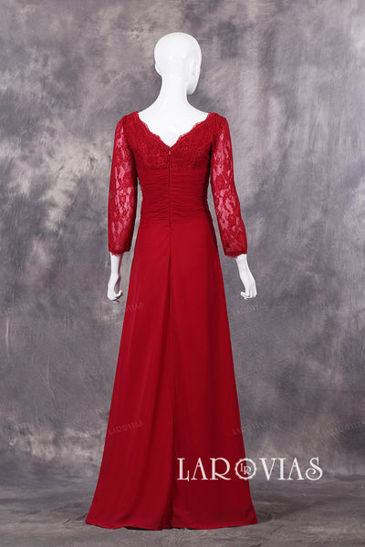 Floor Length Scalloped Neckline Sheath Long Sleeves Evening Dresses With Handmade Flowers Zipper Up Back Style PR516 - LaRovias