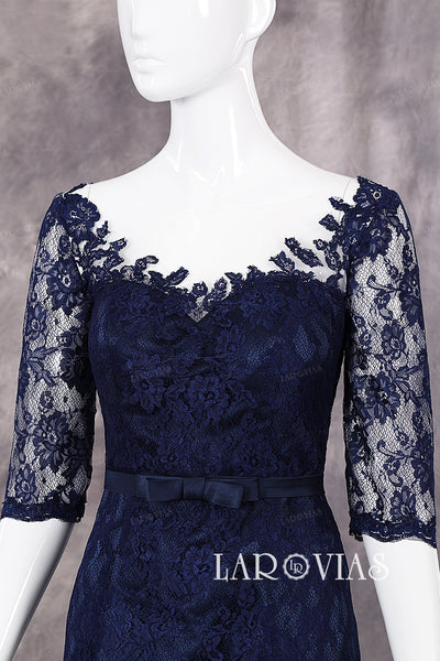 Lace Overlay Sheath Sweetheart Neckline Half Sleeves Evening Dresses Cocktail Dresses Zipper Up Back Style PR520 - LaRovias
