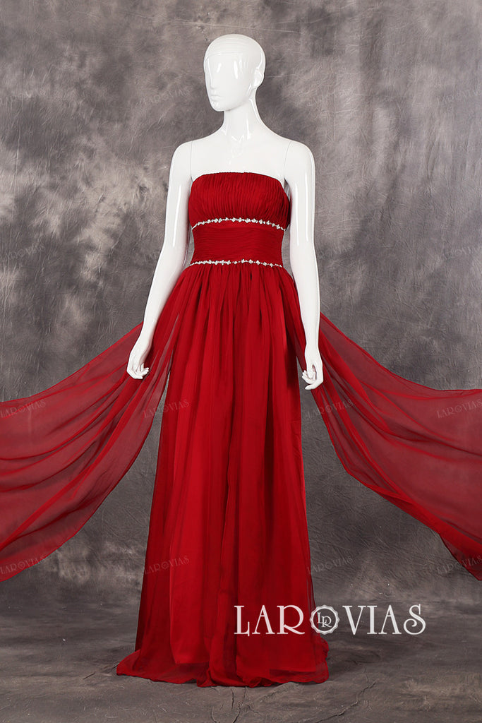 Gorgeous Chiffon Beaded Waist Details Floor Length Draped Bodice Evening Dresses Zipper Up Back Style PR521 - LaRovias