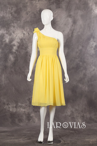 Short Yellow Bridesmaid Dress Homecoming Dresses PR544 - LaRovias