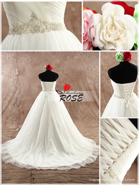 Ball Gown Tulle Wedding Dress Sweetheart Neckline with Waist Beads Details Style WD088 - LaRovias