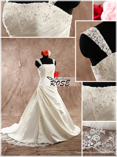 A Line Satin Wedding Dress Bridal Gown Beaded Applique Lace Straps Chapel Train Style WD091 - LaRovias
