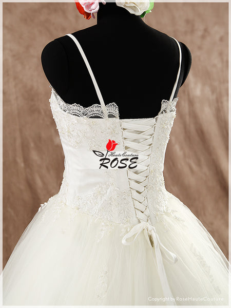 Romantic A Line Lace and Tulle Wedding Dress Lace Trim Spaghetti Straps Style WD093 - LaRovias