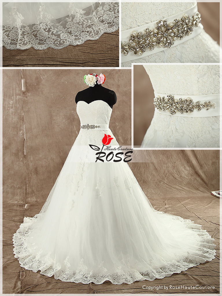 Sweetheart Ball Gown Wedding Dress with Beaded Details Sash Lace up Back Style WD101 - LaRovias
