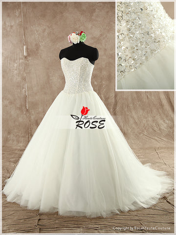 Sweetheart Ball Gown Wedding Dress with Bodice Fully Beads Details Style WD103 - LaRovias