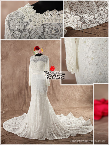 French Lace Mermaid Wedding Dress with Long Sleeves and Satin Waistband Chapel Train Style WD105 - LaRovias
