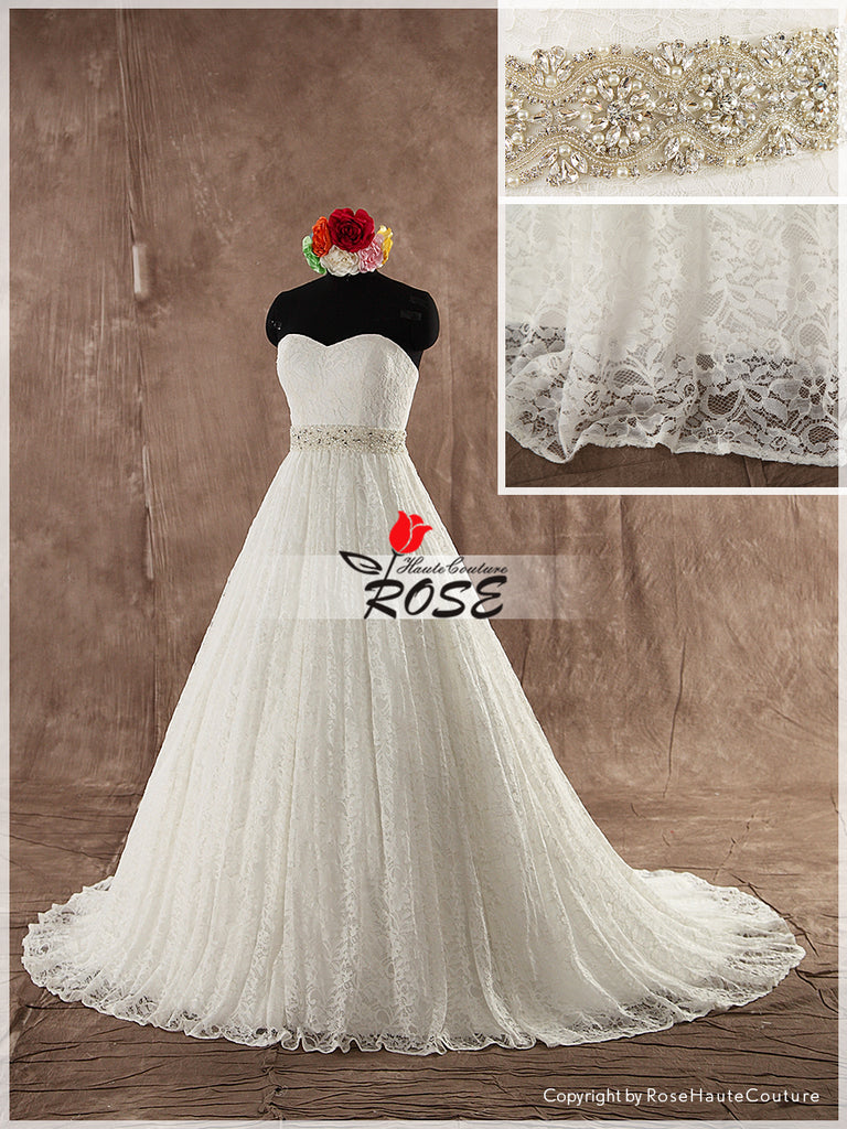 Sweetheart Ball Gown Wedding Dress French Lace with Detachable Crystal Beaded Sash Style WD106 - LaRovias