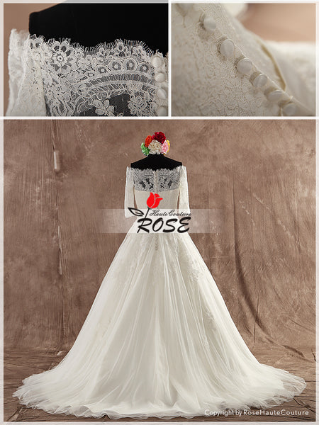 Princess Sweetheart Ball Gown Wedding Dress Unique Lace with Beaded Satin Sash Style WD107 - LaRovias