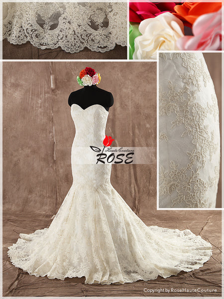 Strapless Sweetheart Mermaid Lace Wedding Dress Corset Back Chapel Train Style WD110 - LaRovias