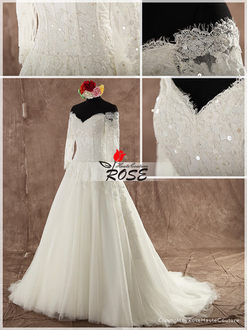 Vintage Lace Wedding Dress Tulle Skirt Corset Back Chapel Train Style WD111 - LaRovias