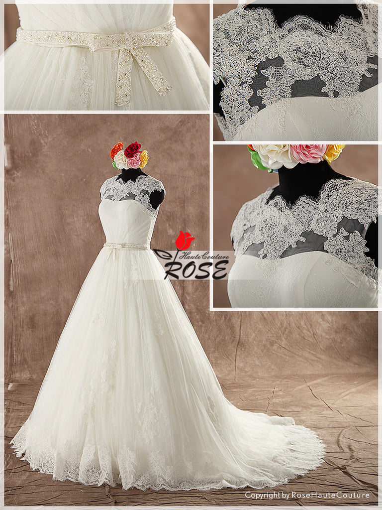 Strapless Ball Gown Wedding Dress Lace Top Tulle Skirt Button Back Chapel Train Style WD116 - LaRovias