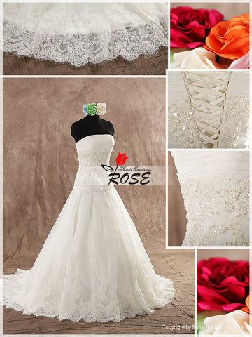 Strapless Ball Gown Wedding Dress Drapped Wasitline Beaded Lace and Waist Handmade Flower Style WD117 - LaRovias