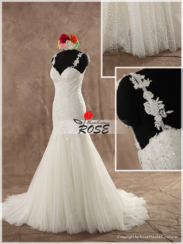 Mermaid Sweetheart Neckline Wedding Dress Bridal Gown Dotted Tulle Skirt Lace Straps Illusion back Style WD122 - LaRovias