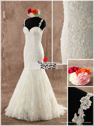Mermaid Sweetheart Neckline Lace Wedding Dress Bridal Gown Lace Straps Illusion back Style WD123 - LaRovias