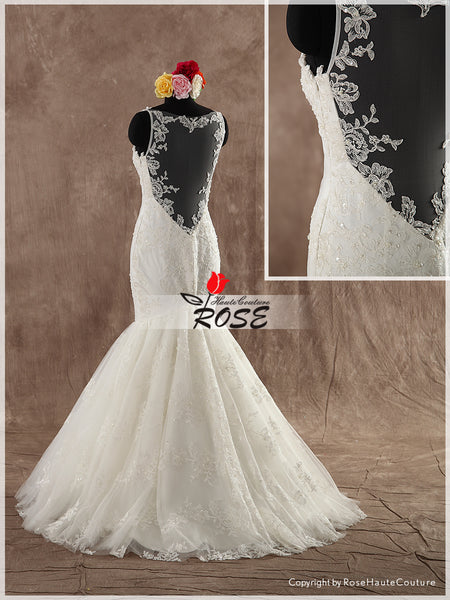 Trumpet Wedding Dress Bridal Gown Sweetheart Neckline Lace Straps Illusion back Style WD125 - LaRovias
