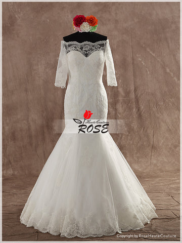 Sweetheart Neckline Lace Trumpet Wedding Dress with Sleeves Buttons Back Style WD127 - LaRovias