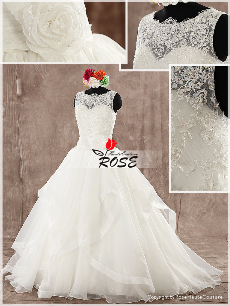 Illusion Neckline Lace and Organza Ball Gown Wedding Dress Waist Flower Detail Button Back Style WD136 - LaRovias