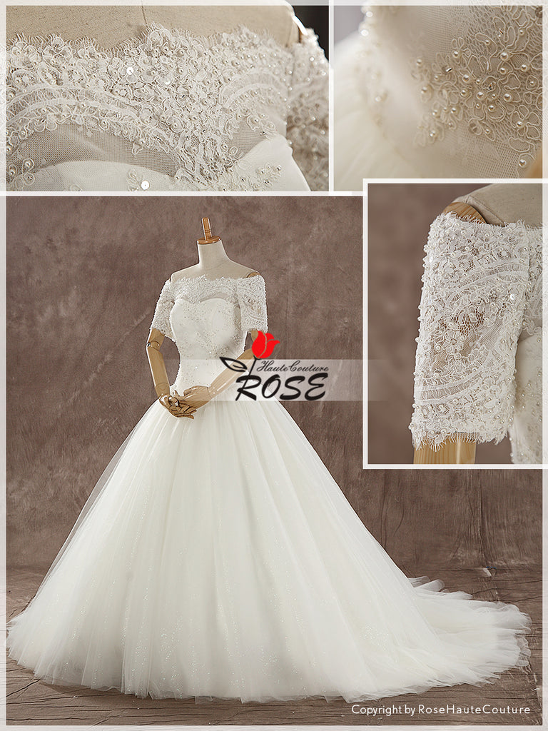 Off Shoulder Lace and Glitter Tulle Ball Gown Wedding Dress Button Back Style WD139 - LaRovias