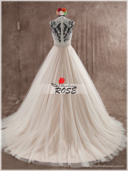 V Neck Lace and Tulle Wedding Dress Bridal Gown with Beads and Crystal Sash Style WD140 - LaRovias