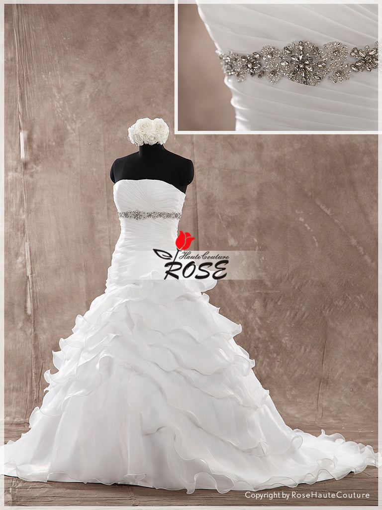Strapless Ball Gown Organza Wedding Dress Beaded Waistband Lace Up Back Style WD142 - LaRovias